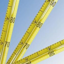 Laboratóriumi bothőmérő higany töltettel, normál osztású