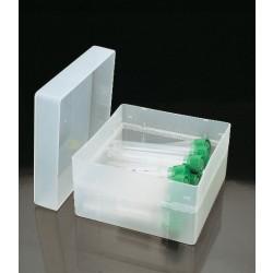 Tárolódoboz levehető, átlátszó tetővel csövekhez és egyéb célra