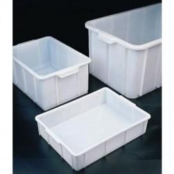 Műanyag láda, fehér, egymásba rakható, fogantyúval