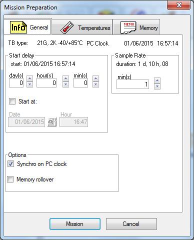 adatrögzítő küldetésének beállítása - általános