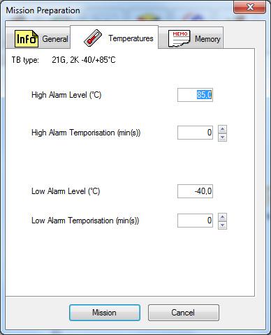adatrögzítő küldetésének beállítása - hőmérsékleti értékek